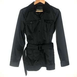 Eddie Bauer Black Belted Lycra Short Trench Jacket